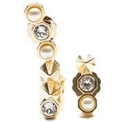 Maria Francesca Pepe Women's Asymmetric Encrusted Earrings - Gold