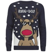 Men's Rude-Dolf Christmas Jumper - Navy