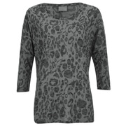 Vero Moda Women's Anna Asti 3/4 Printed Top - Dark Grey Melange