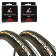 Continental Gatorskin Hardshell Clincher Road Tyre Twin Pack with 2 Free Inner Tubes - Black 700c x 25mm