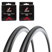 Vittoria Rubino Pro Slick Clincher Road Tyre Twin Pack with 2 Free Inner Tubes - Black/Grey 700c x 25mm