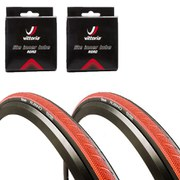 Vittoria Rubino Pro Clincher Road Tyre Twin Pack with 2 Free Inner Tubes - Red/Black 700c x 23mm