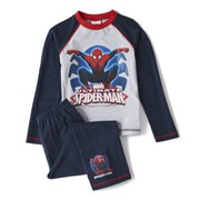 Spiderman Boy's Long Sleeve Pyjamas - Navy/Grey