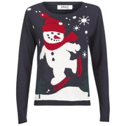 ONLY Women's Skating Snowie Christmas Jumper - Navy Blazer