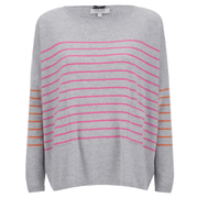 Cocoa Cashmere Women's Striped Pocket Jumper - Grey/Dayglow/Laser