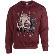 DC Originals Christmas Batman and Robin Santa Claus Sweatshirt - Maroon