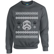 Star Wars Kids' Christmas Stormtrooper Yoda Sweatshirt - Charcoal