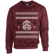 Star Wars Kids' Christmas Stormtrooper Yoda Sweatshirt - Maroon