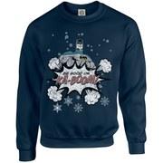 DC Originals Christmas Batman Be Good or Kaboom Sweatshirt - Navy