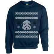 Star Wars Christmas Stormtrooper Yoda Sweatshirt - Navy