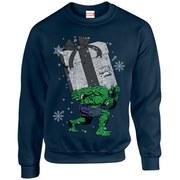 Marvel Comics Christmas Santa Hulk Sweatshirt - Navy