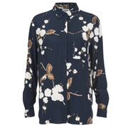 Ganni Women's Floral Shirt - Navy Japanese Flower