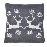 Dark Grey Reindeer Cushion