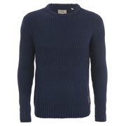 Brave Soul Men's Cassini Crew Neck Jumper - Navy