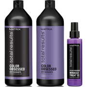 Matrix Total Results Color Obsessed Shampoo (1000ml), Conditioner (1000ml) and Miracle Treat 12 Lotion Spray (150ml)