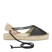 Soludos Women's Leather Platform Espadrille Gladiator Sandals - Black