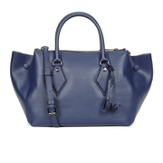 Diane von Furstenberg Women's Voyage Double Zip Leather Tote Bag - Navy