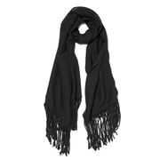 BeckSöndergaard Women's Kamo Leather Tassle Wool Scarf - Black