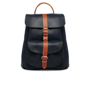 Grafea Navy and Tan Leather Backpack - Navy