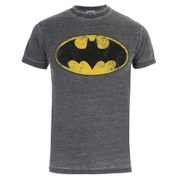 DC Comics Men's Batman Burnout T-Shirt - Charcoal/Grey