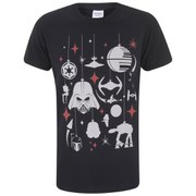 Star Wars Men's Darth Vader Festive Galaxy Christmas T-Shirt - Black