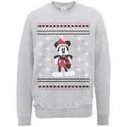 Disney Mickey Mouse Christmas Mickey In A Scarf Sweatshirt -  Heather Grey