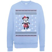 Disney Mickey Mouse Christmas Mickey In A Scarf Sweatshirt -  Light Blue
