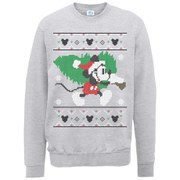 Disney Mickey Mouse Christmas Tree Sweatshirt -  Heather Grey