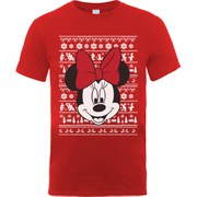 Disney Mickey Mouse Men's Christmas Minnie Head T-Shirt - Red