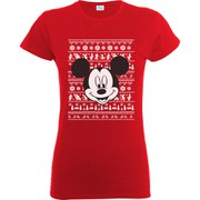 Disney Mickey Mouse Women's Christmas Mickey Head T-Shirt - Red