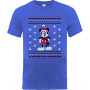 Disney Mickey Mouse Men's Christmas Mickey In A Scarf T-Shirt - Royal Blue