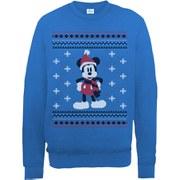 Disney Mickey Mouse Christmas Mickey In A Scarf Sweatshirt -  Royal Blue