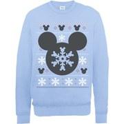 Disney Mickey Mouse Christmas Silhouette Snowflake Sweatshirt -  Light Blue