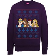Disney Princess Christmas Faces Sweatshirt - Purple