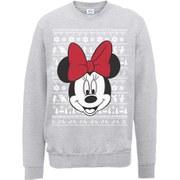Disney Mickey Mouse Christmas Minnie Head Sweatshirt -  Heather Grey