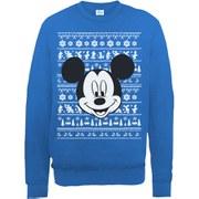 Disney Mickey Mouse Christmas Mickey Head Sweatshirt -  Royal Blue