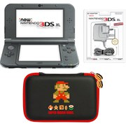 New Nintendo 3DS XL Metallic Black + Mario Retro Case Pack