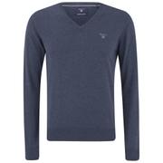 GANT Men's Light Weight Cotton V Neck Jumper - Denim Blue