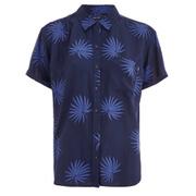 OBEY Clothing Women's Raven Palm Fan Short Sleeve Shirt - Navy Multi