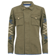 Maison Scotch Women's Army Inspired Shirt Jacket with Denim Detailing and Embroidered Sleeves - Green