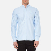 Maison Kitsuné Men's Tricolor Patch Long Sleeve Shirt - Light Blue