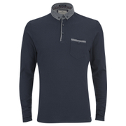 Brave Soul Men's Herac Long Sleeve Polo Shirt - Navy