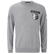 Alexander Wang Men's Crew Neck Sweatshirt With Barcode Patches - Heather Grey