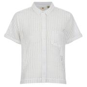 Levi's Women's Shorts Sleeve Cropped Shirt - White