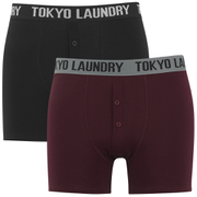 Tokyo Laundry Men's Kings Cross 2 Pack Button Boxers - Black/Oxblood