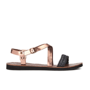 UGG Australia Women's Jordyne Leather Braided Strap Sandals - Rose Gold
