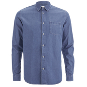 Folk Men's Denim Long Sleeved Shirt - Light Denim