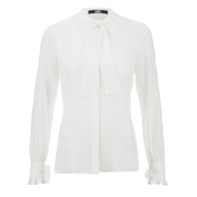 Karl Lagerfeld Women's Silk Ruffle Cuff Blouse - White