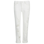 Karl Lagerfeld Women's Distressed Boyfriend Denim Jeans - White
