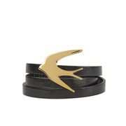 McQ Alexander McQueen Women's Swallow Triple Wrap Bracelet - Black
